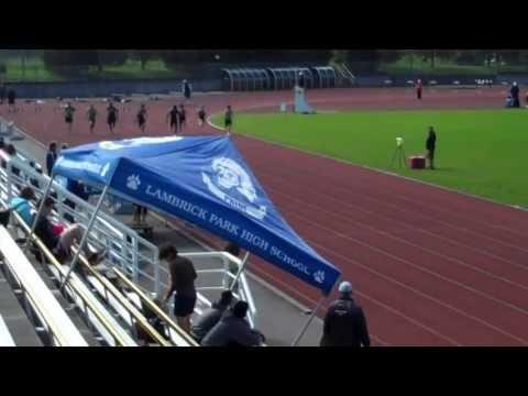 100m Dash ANGLE 2 Lower Vancouver Island Finals Track & Field 2013 - Saeed Shokoya