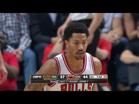 bdc80562948 Derrick Rose Full Highlights 2015 playoffs R1G1 vs Bucks - 23 Pts