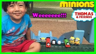 Thomas and Friends Accident will Happen at the Park with Toy Trains and Minions Ryan ToysReview