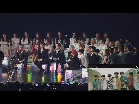 HD FANCAM IKON 아이콘 , WANNA ONE 워너원 , MAMAMOO REACTION To VCR 리액션 - BTS 방탄소년단 At MMA 2018