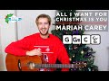 All I Want For Christmas Is You Guitar Tutorial - Easy Christmas Songs on Guitar (Mariah Carey)