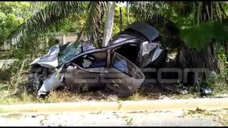 Fuerte accidente en la carretera Punta Sam; un sujeto pierde la vida