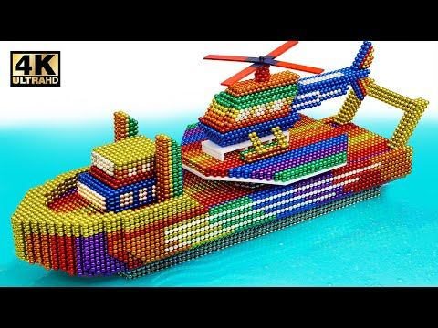 DIY - How To Make Ship With Helicopter From Magnetic Balls (Satisfying) | Magnet World Series
