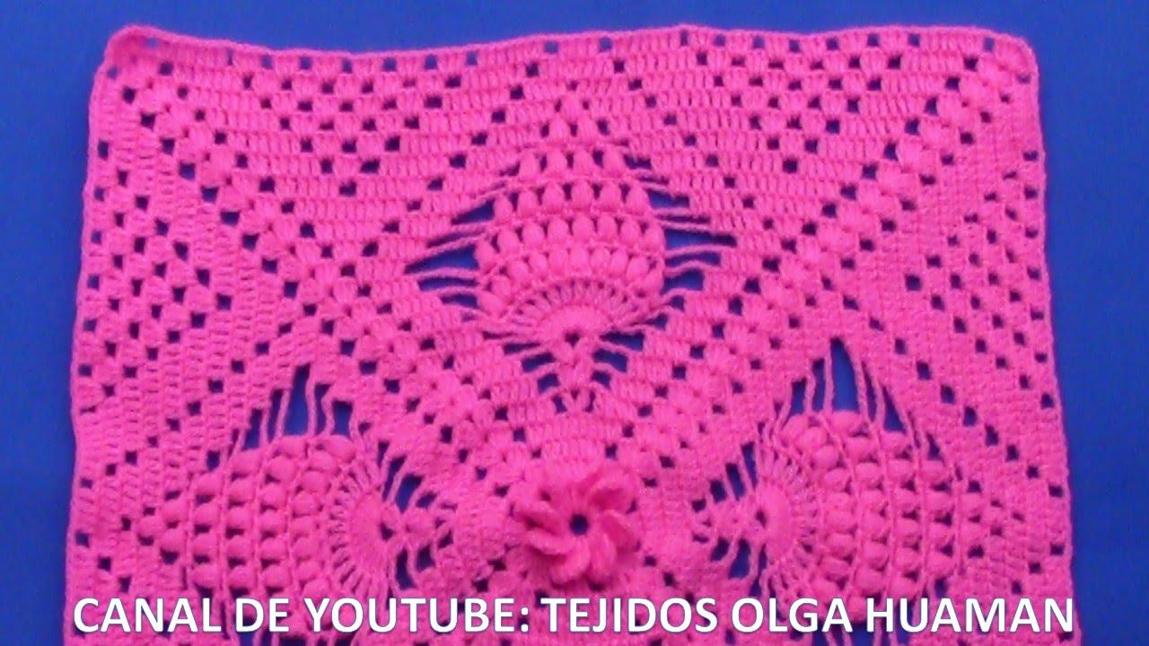 Cuadrado A Crochet Piñas En Punto Garbanzos Paso A Paso Para Colchas