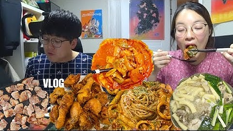 [닭한마리편] 벚꽃의 주간🌸먹방브이로그(치킨,토마토스튜,골목식당 김치찌개, 옥상 삼겹살, 냉면, 와클,배흥동 비빔면 ) KOREAN FOOD MUKBANG VLOG