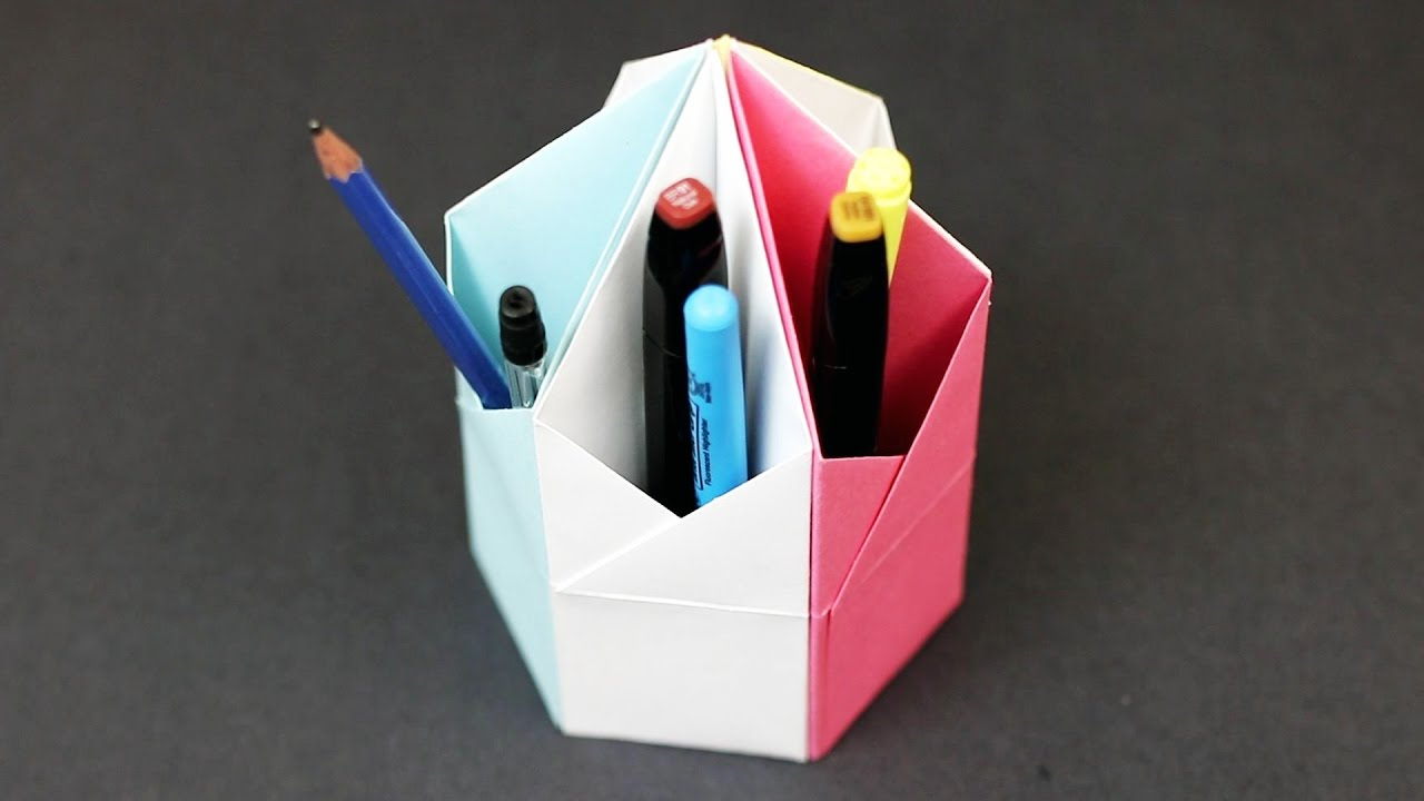 Origami Triangular Pencil Holder Desk Organizer Easy Paper