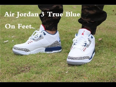 6d36294279a Air Jordan III 3 True Blue on feet - YouTube
