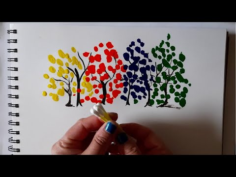 Rainbow trees | Abstract acrylic painting tutorial | Cotton swabs painting technique