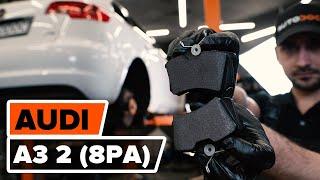 Montering Bromsbeläggsats AUDI A3 Sportback (8PA): gratis video