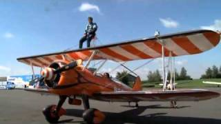 Racing Silverline Driver Jason Plato and BTCC driver Matt Neal wing walk.
