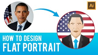 Adobe Illustrator Tutorial: How to design Simple Flat Portrait from the Image