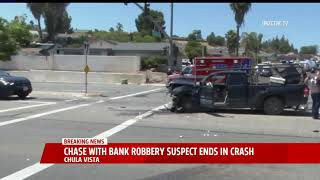 Pursuit Of Bank Robbery Suspect Ends In Crash