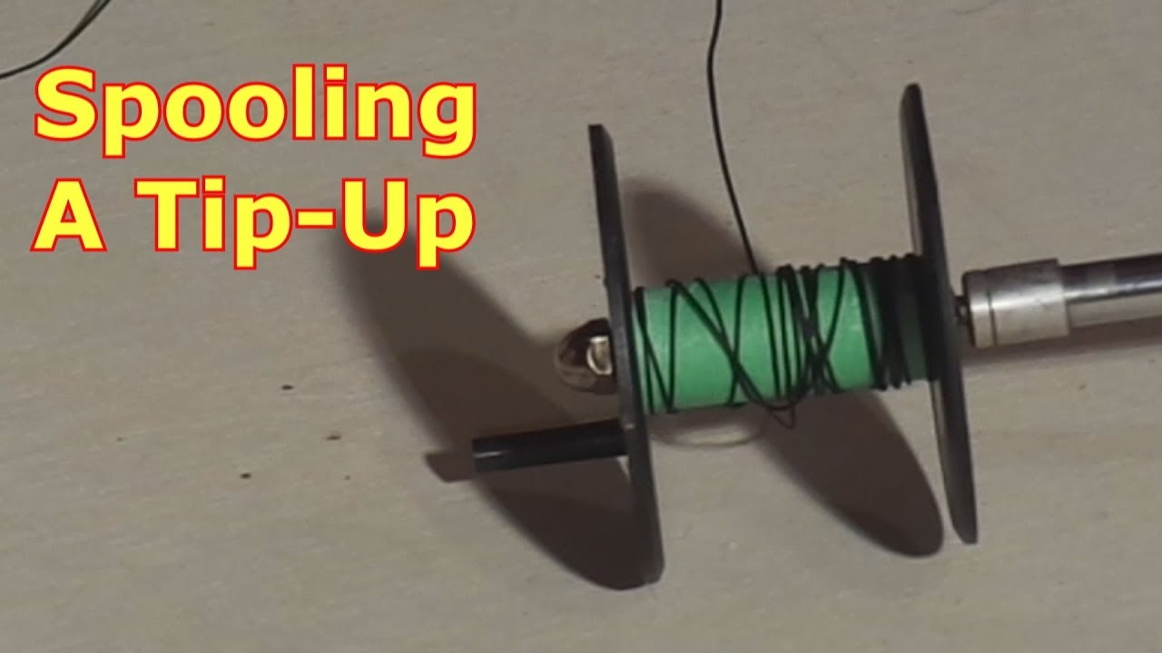 Ice fishing spooling a tip up youtube for Ice fishing tip ups