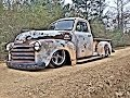 SLAMMED PATINA BAGGED CHEVY 3100 TRUCK RATROD AIR RIDE
