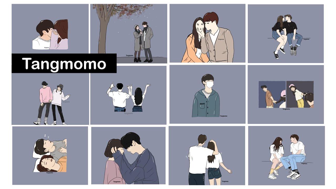 EP.1 วาดภาพชีวิตคู่รัก พื้นหลังสีเทา 12 ภาพ x Tangmomo
