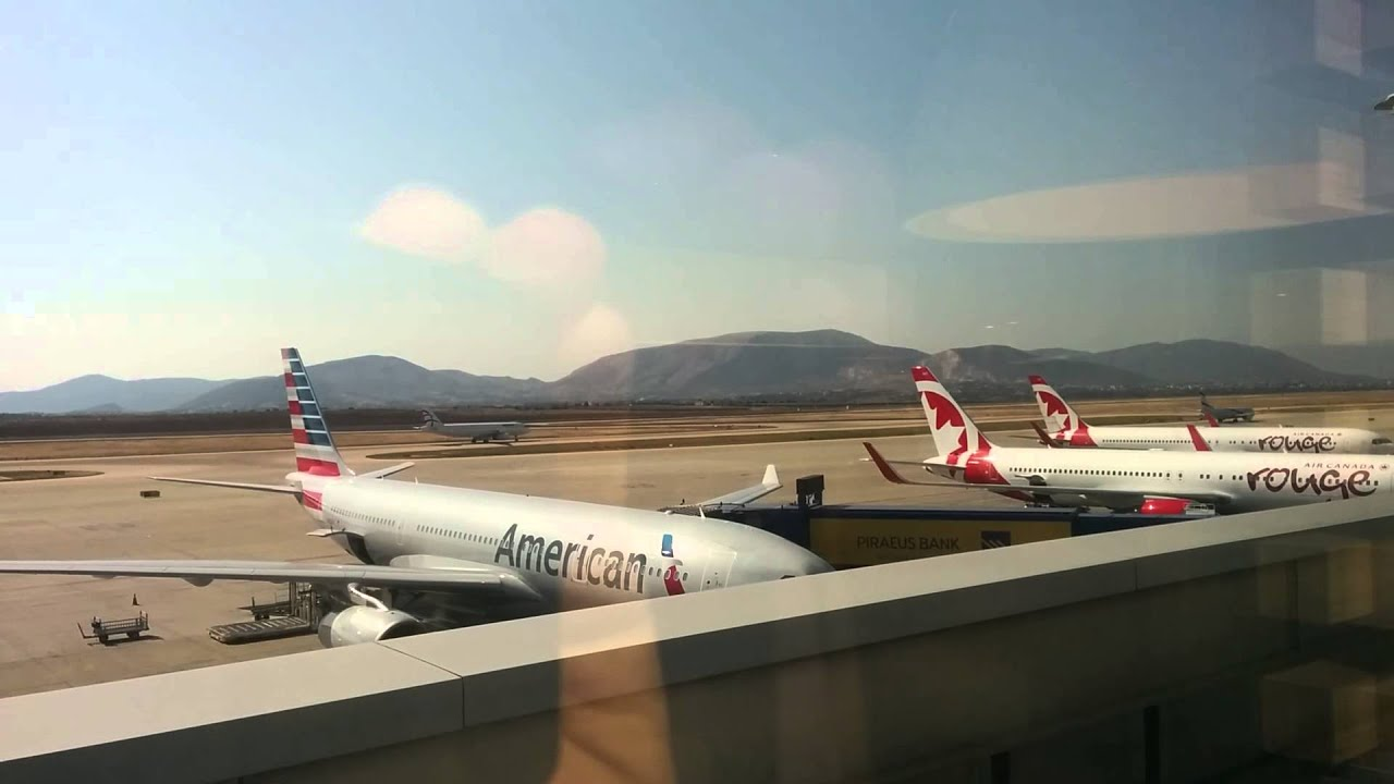 American Airlines And Air Canada At Athens Airport Youtube