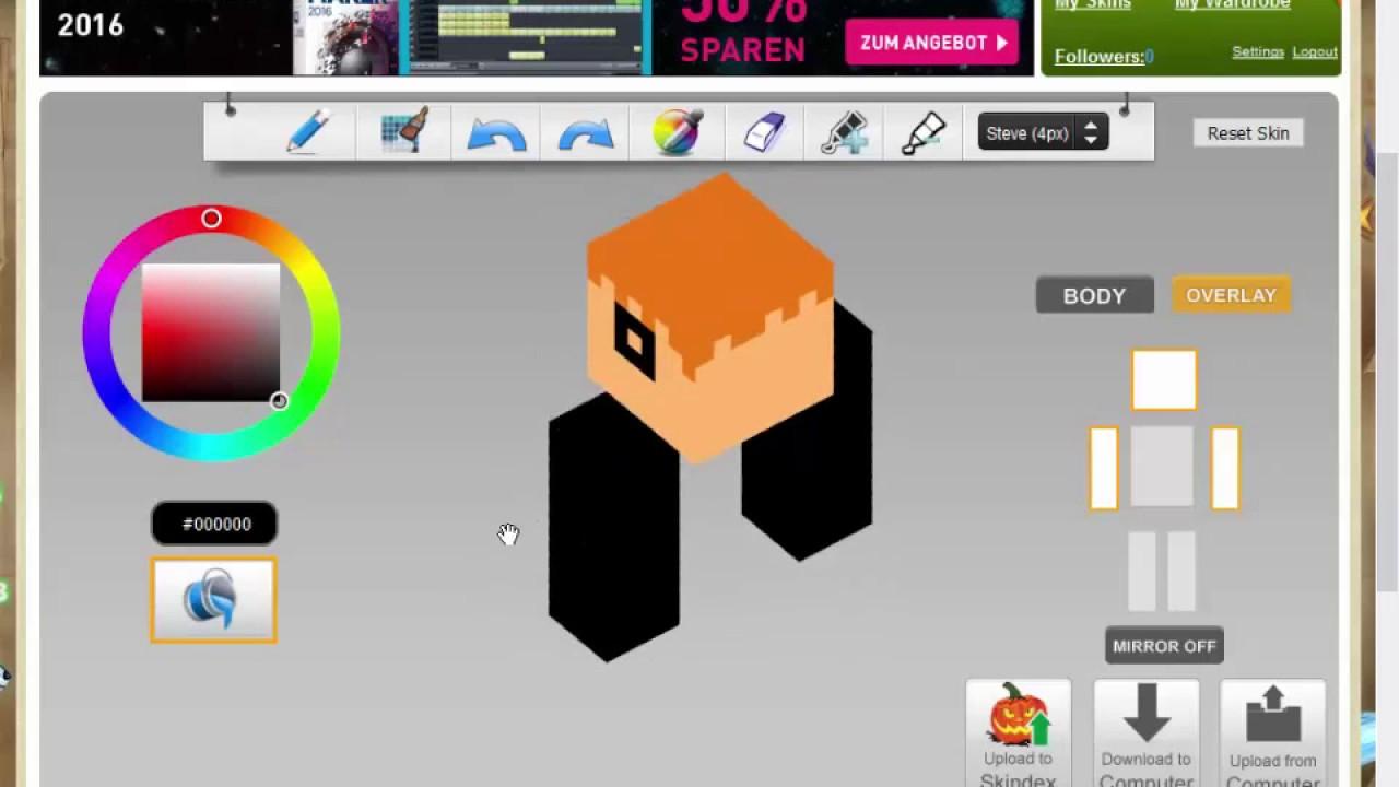MineCraft Skin Erstellen Deutsch YouTube - Skins fur minecraft selber erstellen