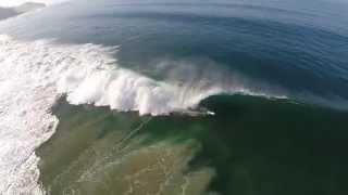 Epic double barrel by Reef Mcintosh at zuma beach in Malibu, California  Aerial drone surfing