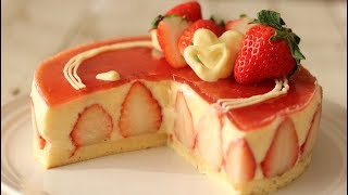 苺のショートケーキ フレジェ Strawberry Cake Fraisier|HidaMari Cooking
