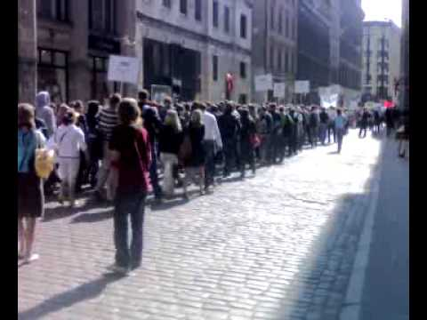 Students marching past Ministry of Education, Riga, Latvia