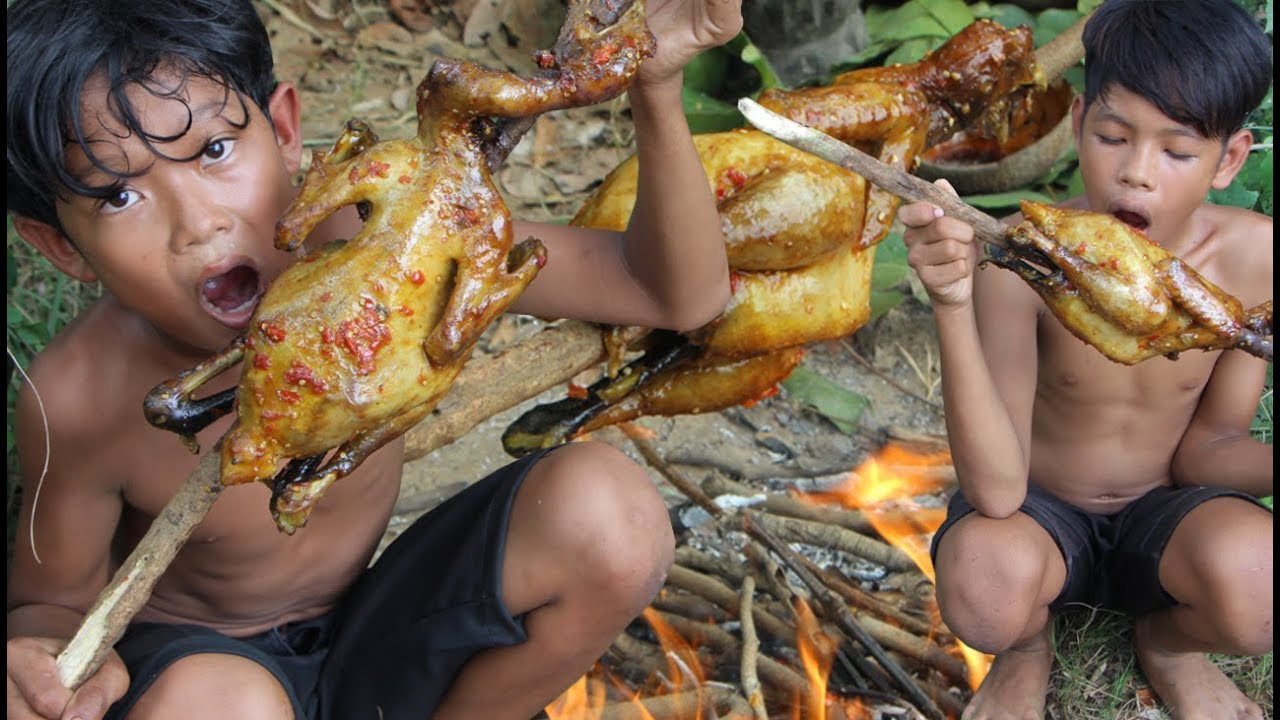 Primitive Technology - Awesome Cooking chicken in forest - eating delicious