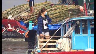 Sà Lan Mất Lái Tạt Ngang Miệng Cống Đụng Lung Tung Móp Cả Mủi | Barges lost control - Long Miền Tây