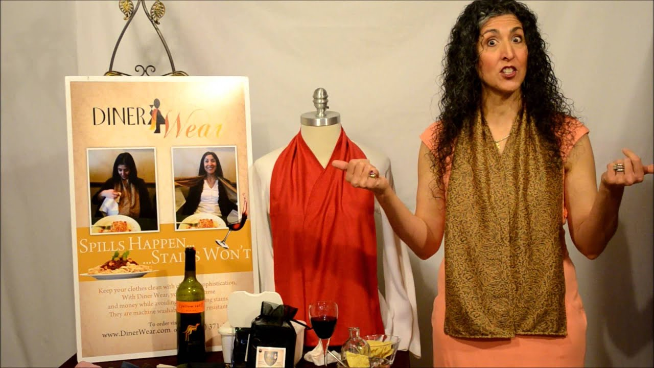 DinerWear Demo   The Fashionable Dining Scarf That Serves As An Adult Bib    YouTube