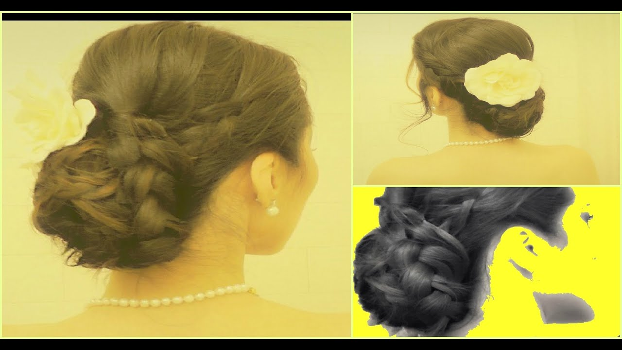 WEDDING HAIR TUTORIAL LOW BRAID BUN UPDOS for MEDIUM LONG HAIR  BRAIDED BUNS FOR PROM  YouTube