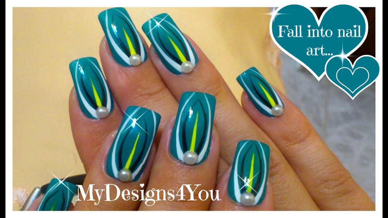 Abstract Turquoise Nail Art Design Tutorial With Pearls