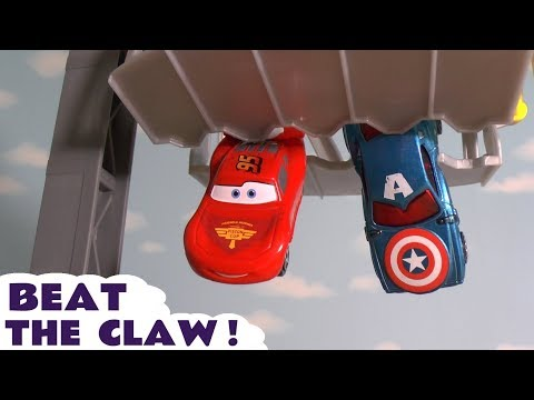 Disney Cars Toys McQueen claw race with Hot Wheels Hulk, PJ Masks and the funny Funlings TT4U