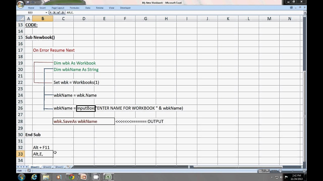 Excel VBA :To Change Workbook Name Using Macro