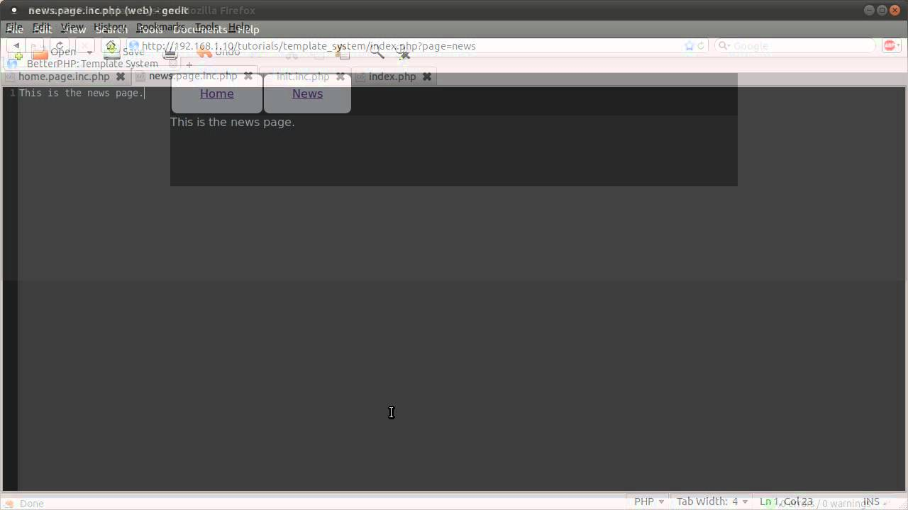Php Tutorial Basic Template System Part 00