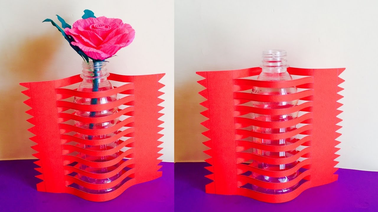 Recycled craft flower vase with paper and plastic bottle for Waste crafts making
