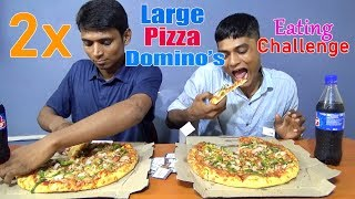 2x Large Domino's Pizza eating Challenge | Pizza Eating Competition | Food Challenge
