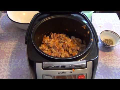 Готовим в мультиварке! Тушёные куриные желудки с луком и морковью.