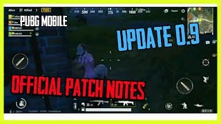 PUBG Mobile Update 0.9 Official Patch Notes (English)