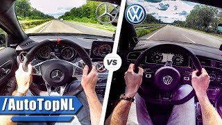 2018 VW Golf R vs 2018 Mercedes A45 AMG 0-250km/h ACCELERATION & TOP SPEED POV AUTOBAHN by AutoTopNL