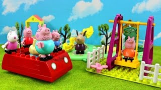 Peppa Pig School Blocks Construction Set With Peppa Pig Family Red Car Lego Building Toys For Kids