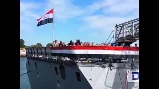 فيديو | لحظة رفع علم مصر على «فرقاطة تحيا مصر» بفرنسا