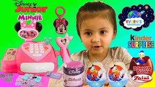DISNEY JUNIOR MINNIE MOUSE CASH REGISTER ! Disney Kinder Surprise Eggs Donald Duck Kid Fun Games