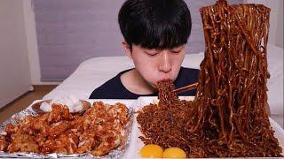 트러플오일 짜파게티...!!! 더 맛있어진 거 같은 슈프림양념치킨 먹방ㆍMUKBANG Black been noodles Sweet Fried Chicken ASMR
