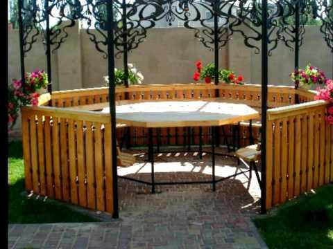 Садовая беседка из дерева и металла на даче, дизайн, конструкция, цена, купить в Днепре