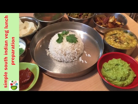Simple South Indian veg  lunch preparation or weekend lunch menu