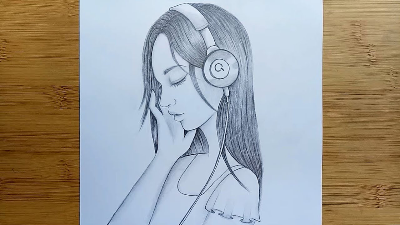 How to draw a Beautiful Girl with Headphones - Step by step pencil sketch.