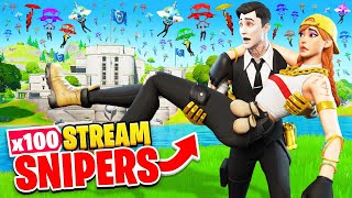 We TRY TO SURVIVE vs 100 Stream Snipers at THE AGENCY! (Fortnite)