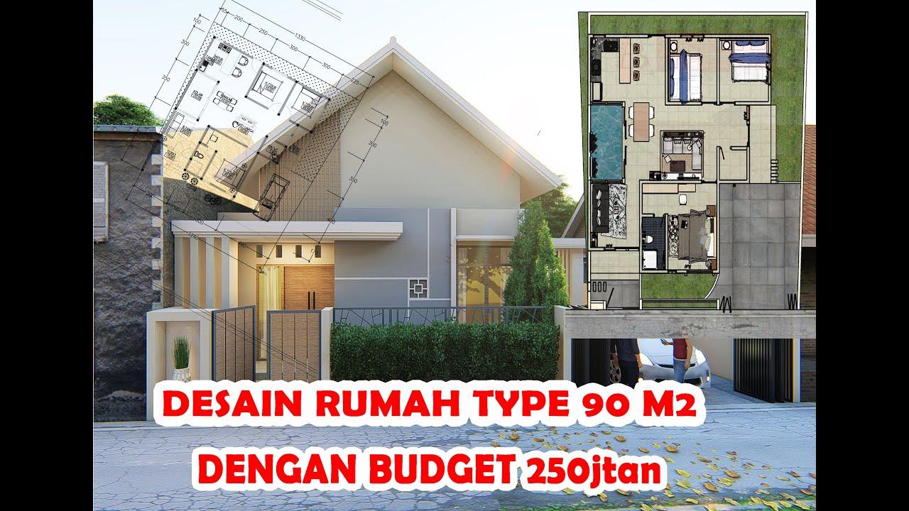 desain rumah TYPE 90m2 3 kamar tidur ||dengan BUDGET ...