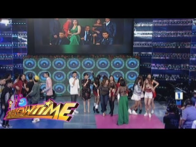 It's Showtime Copy Cut: Team boys and Team Girls poses like the wildflower cast on Copy Cut