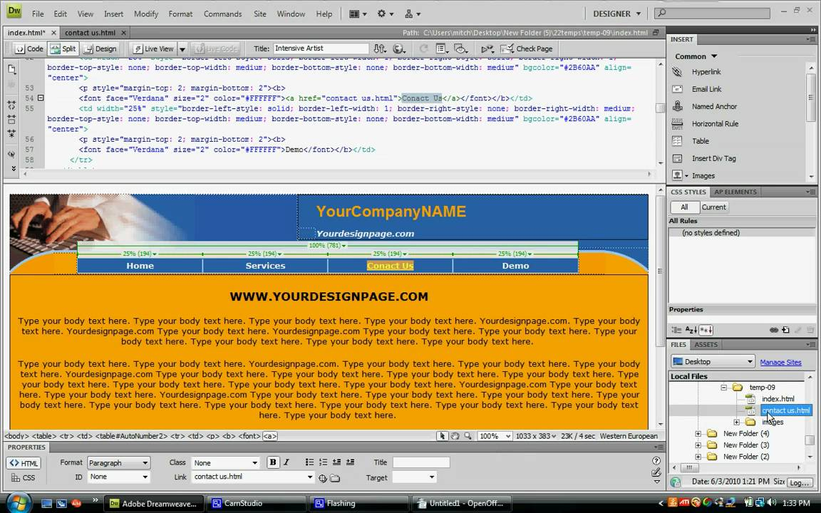 how to create a link in dreamweaver cs4 tutorial link your home page to a second page