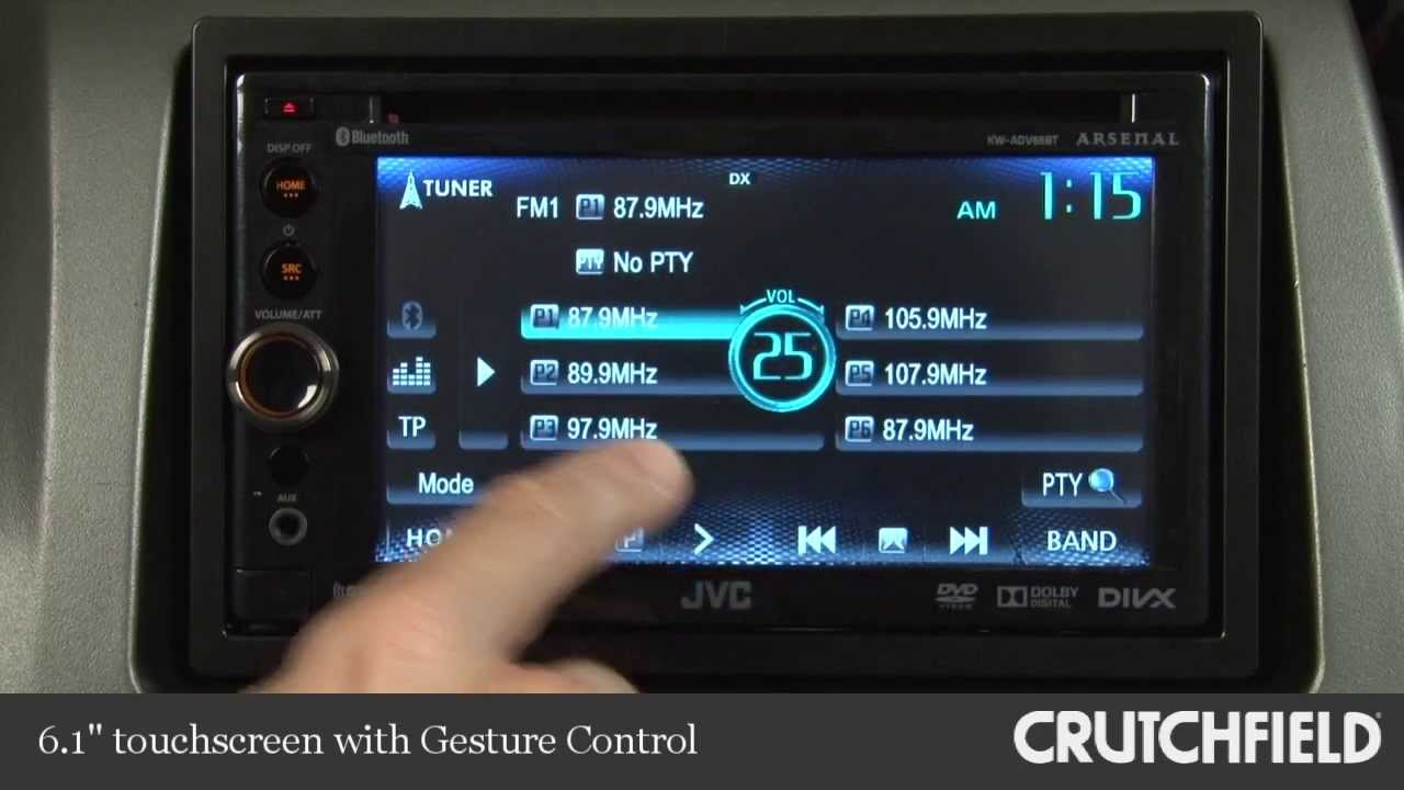 jvc kw adv65bt car dvd receiver display and controls demo. Black Bedroom Furniture Sets. Home Design Ideas