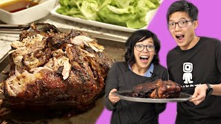 Wee & Tee Cook: MOMOFUKU'S BO SSAM - Korean pork & raw oyster lettuce wraps  - Cooking w/My Brother